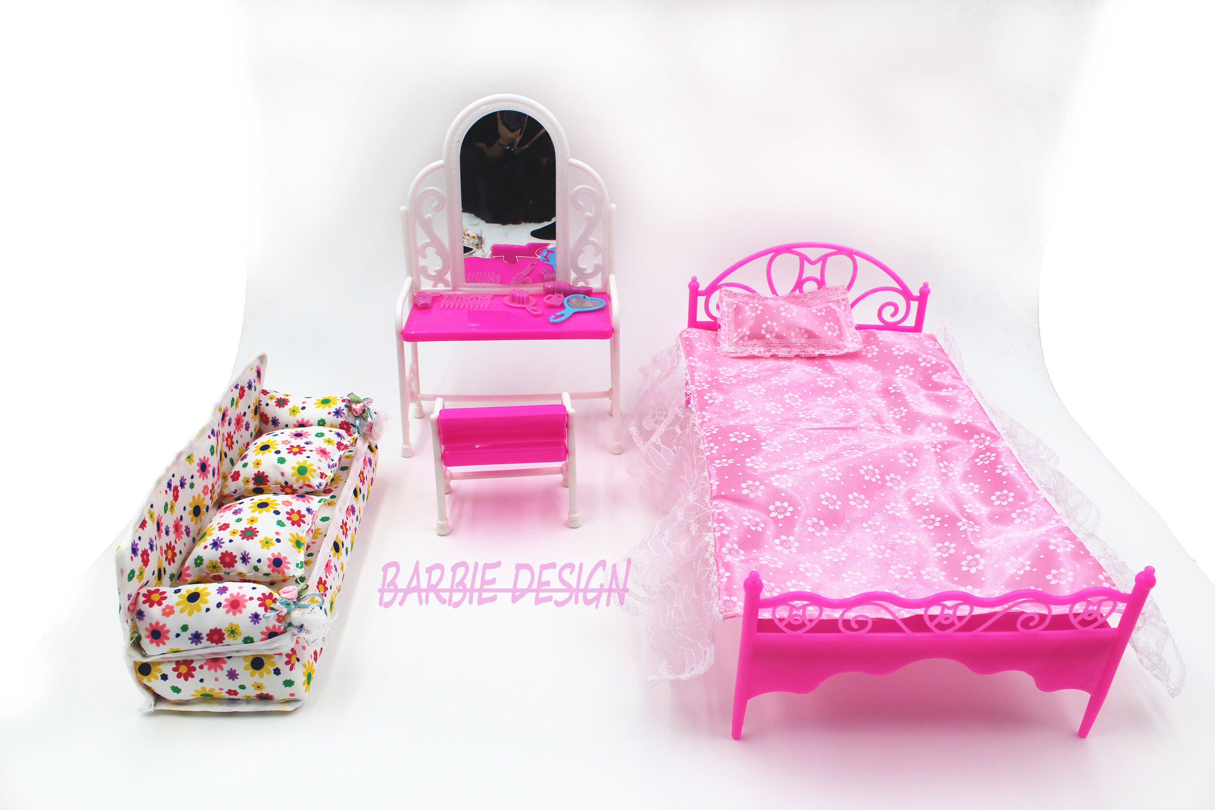Free Shipping Doll Bed Furniture girls birthday gift dressing table for doll Baby Flower Cloth Sofa