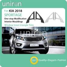 Uniron стайлинга автомобилей интерьера аксессуары столб окна внутренняя Треугольники накладка ABS Chrome Frame для KIA SPORTAGE R 2018 2019