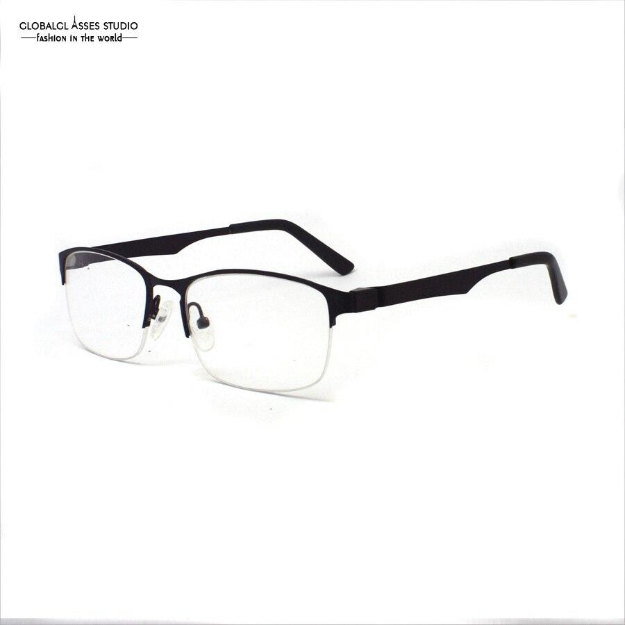 ᐂDesigned Half Frame Flexible Metal Glasses Prescription Frame Men ...