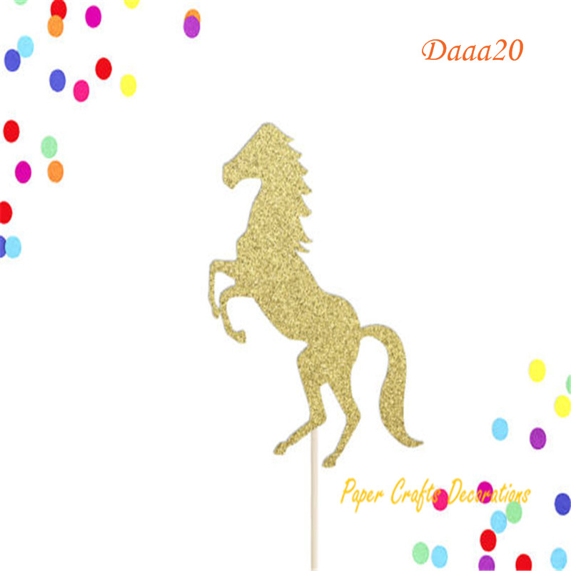 1pcs 15cm Glitter Gold Horse Cake Topper For Cowgirl Cowboy Birthday Party Decorating Supplies