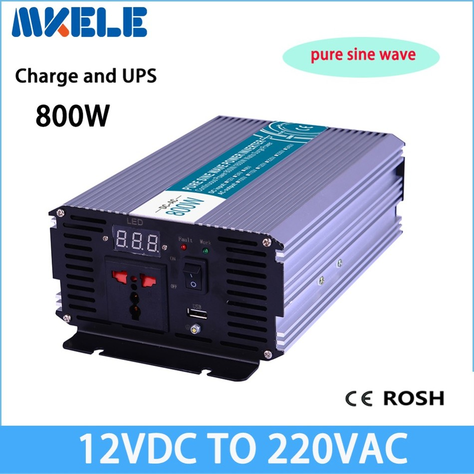 MKP800-122-C 800w  solar inverter 12v 220v pure sine wave voltage converter LED Display off grid with Charge mkp3000 122 off grid pure sine wave inverter 12v to 220v 3000w solar inverter voltage converter solar inverter led display