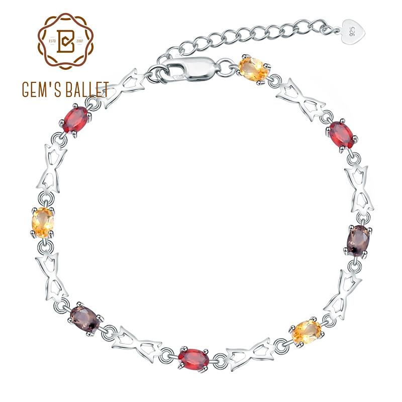 Gem s Ballet 925 Sterling Silver Gemstone Bracelet Natural Citrine Garnet SmokyQuartz Bracelets Bangles For Women