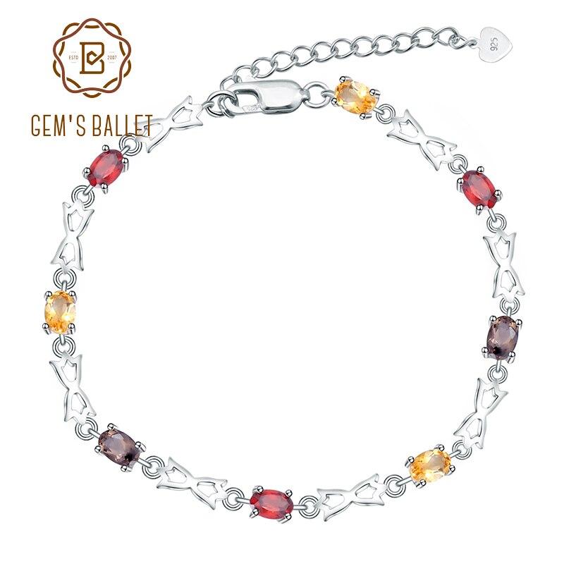 Gem's Ballet 925 Sterling Silver Gemstone Bracelet Natural Citrine Garnet SmokyQuartz Bracelets & Bangles For Women Fine Jewelry-in Bracelets & Bangles from Jewelry & Accessories    1