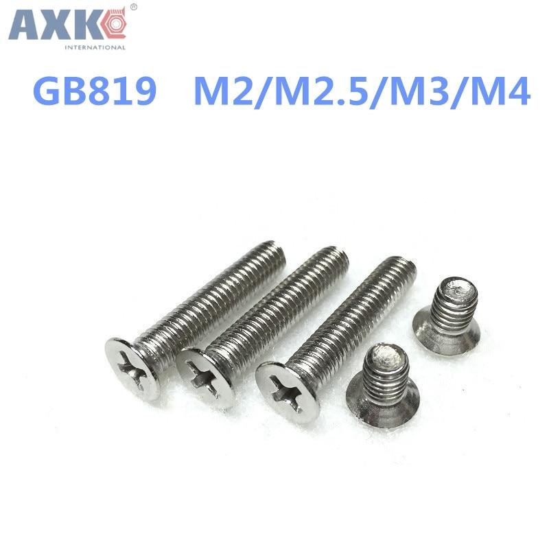 AXK 100pcs/Lot GB819 M2/M2.5/M3/M4 304 Stainless Steel flat cross Countersunk head screw hot sale axk 100pcs gb819 m4 304 stainless steel metric thread flat head cross countersunk head screw m4 6 8 10 12 14 16 18 20 25 80 mm