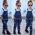 2016 Модные девушки комплект одежды для весны детей набор девочка джинсовом костюме хлопка с длинным рукавом + джинсовые биб брюки/джинсы
