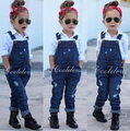 2016 Fashion girl's clothing set for spring children set baby girl denim suit cotton long sleeve shirt+denim bib pants/jeans