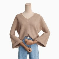 Women Batwing Loose Knitted Sweater Spring Autumn Flare Sleeve Sweater Crop Top Women Pull Femme