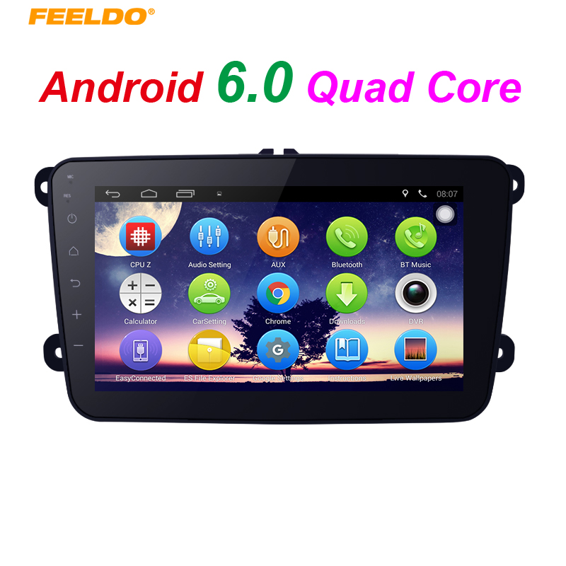 FEELDO 8inch Ultra Slim Android 6.0 Quad Core Car Media Player With GPS Navi Radio For VW Tiguan/Golf 5/Polo/Passat/Jetta/Touran feeldo 7inch android 4 4 2 quad core car media player with gps navi radio for nissan hyundai universal 2din iso gift am3900
