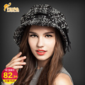 Fashion Style Soft Women Lady Vintage Retro Wool Caps Felt Bowler Fedora Hat Autumn Winter Floppy Flower Fedoras Cap  B-0749