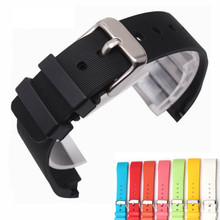 Black Colorful 20mm Rubber Waterproof Watch Strap Band Watchband For Santos Repalce
