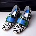 Resorte de las mujeres de Tacón Grueso Dedo Del Pie Cuadrado Diseñador Hebilla Talones Bombea zapatos de Tacón Alto de Pelo de Caballo De Moda Femenina Cómoda Caliente