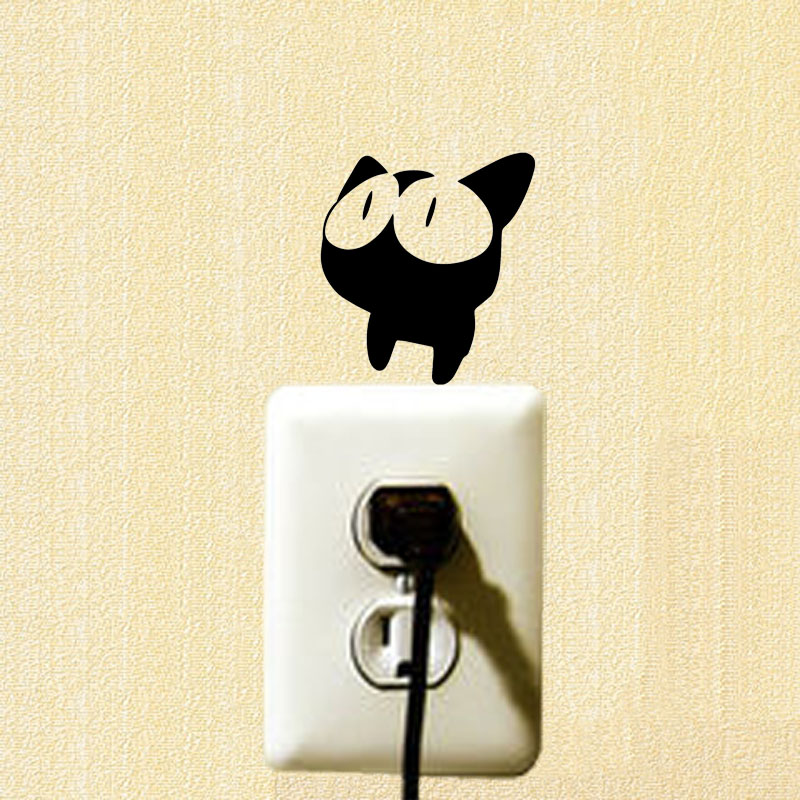 Future Fantasy Cartoon Animals Cat Funny Switch Sticker Bedroom Decoration Vinyl Wall Stickers 2ss0569 China