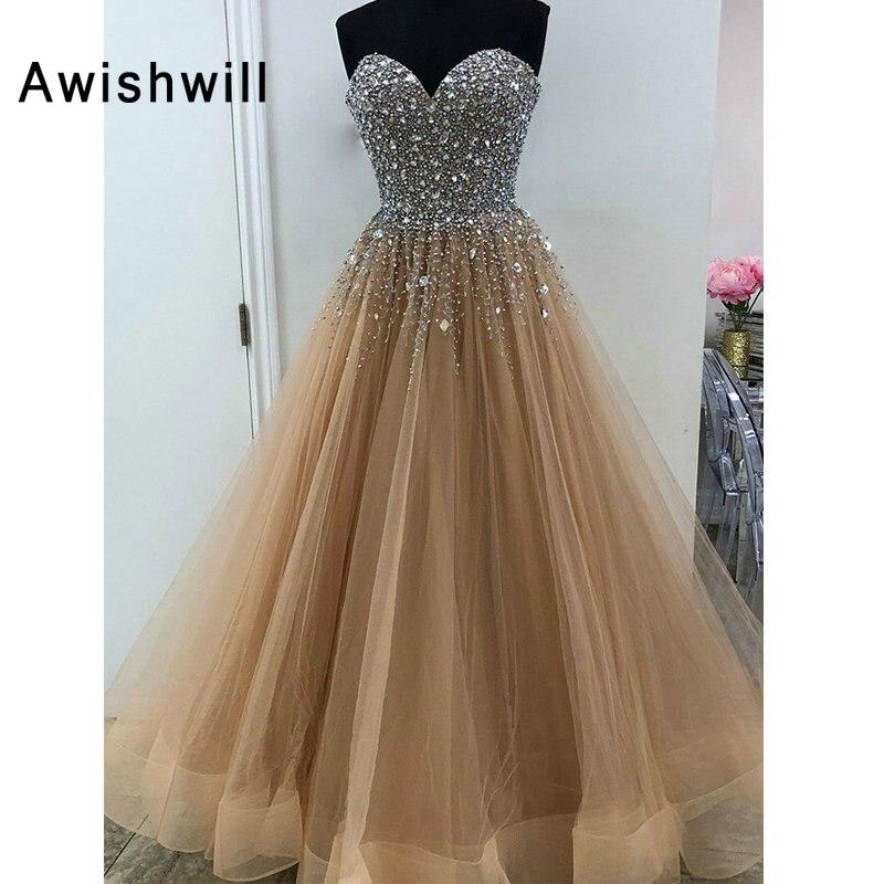 Real Photo Vestidos de Fiesta Largos Elegantes de Gala Crystal Beading Tulle Floor Length Long Evening Gown   Prom     Dress   for Women
