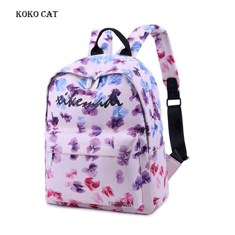 Waterproof Women Backpack Cute Ladies Bookbag Colorful Flower Printing Knapsack Travel Bagpack for Teenage Girls Mochila Mujer