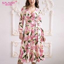 S.FLAVOR Women Long Dress Bow V Collar Beige A line Vestidos Women Waist  Autumn Winter Dress Printing  For Female Elegant