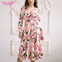 S. טעם נשים ארוך שמלת קשת V צווארון בז אונליין Vestidos נשים מותניים סתיו חורף שמלת הדפסה אלגנטי נשי