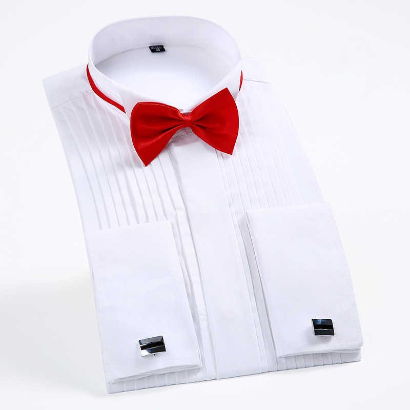 新しい到着メンズフレンチタキシードシャツ男性長袖ドレスシャツメンズ無地ターンダウン襟シャツフォーマル男性シャツ