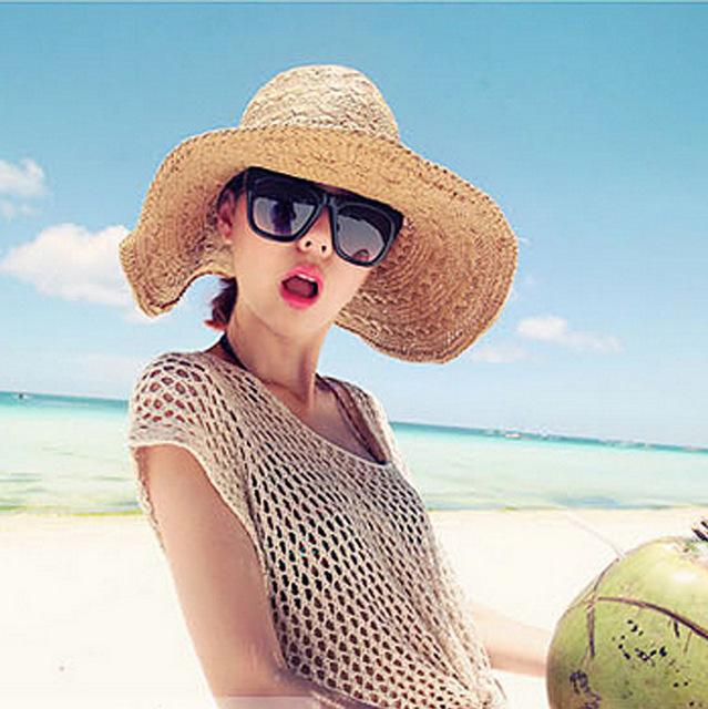 Mão tecida chapéu de palha e chapéu protetor solar cap bonnet juntamente Sol Coreano Yan Praia Resort de Praia