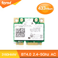 Для Intel Dual Band Wireless-AC 3160 3160HMW 802.11ac 433 Мбит Wi-Fi Bluetooth 4.0 5 ГГц половина Mini PCI-e карты SPS: 710662-001 для hp