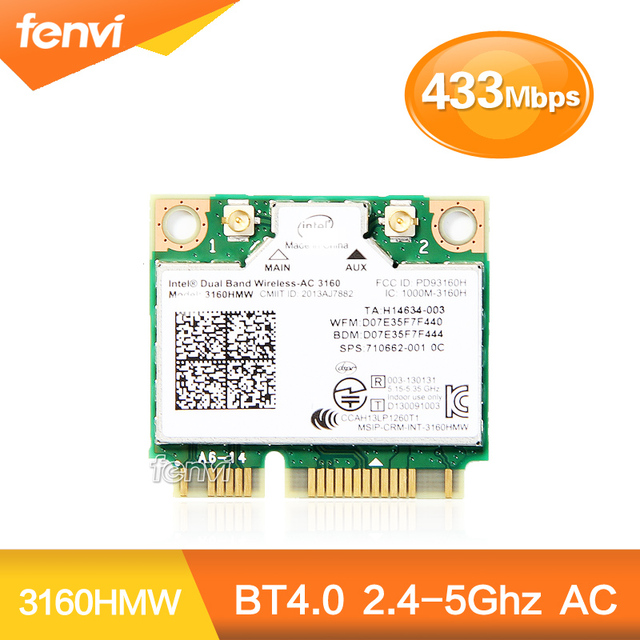 Для Intel Dual Band Wireless-AC 3160 3160HMW 802.11ac 433 Мбит Wi-Fi Bluetooth 4.0 5 ГГц половина Mini PCI-e карты SPS: 710662-001 для hp