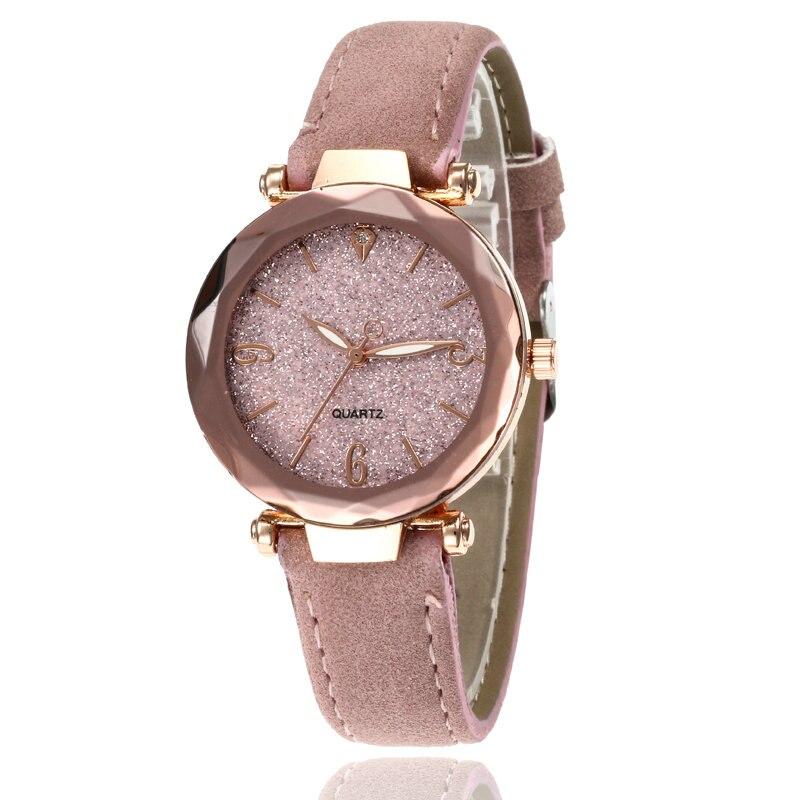 Маленькие свежие мягкие часы женские повседневные кварцевые часы кожа алмазный обруч звездное небо часы Женские Аналоговые наручные часы 100 шт/партия - Цвет: Розовый