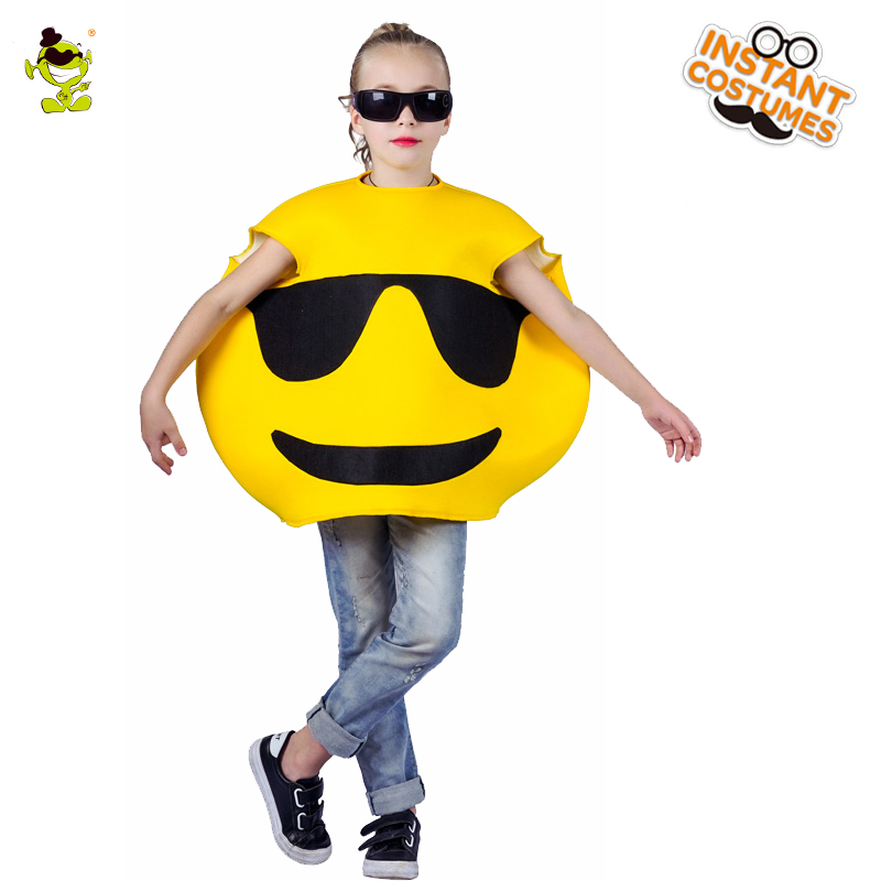 Girls Cool funny emoji costumes kids Children fancy mascot Christmas halloween cute face cosplay costume suit for role paly