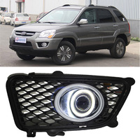 Ownsun COB Angel Eye Rings Projector Lens with 3000K Halogen Lamp Source Black Fog Lights Bumper Cover For Kia Sportage