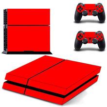 Red Vinyl Skin Sticker Cover  for Sony PS4 PlayStation 4 Console and 2 controller skins