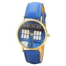 2016 New Arrival Men's Women's Fashion Wristwatch POLICE BOX Letters Faux Leather Unisex Quartz Watch 3FW6D