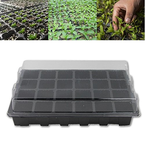 24 Cells Hole Seeds Grow Box Nursery Tray With Lids Seed Sprout Germination Plate Plant Pots Bonsai Flower In Trays From