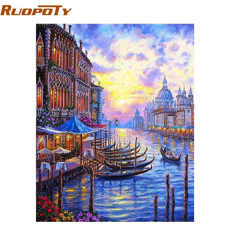 RUOPOTY Venice Sunset Seascape Pittura di DIY Dai Numeri Della Parete Moderna arte della Tela di Canapa Pittura Acrilica Per Numero Regalo Unico Per La Casa Decor