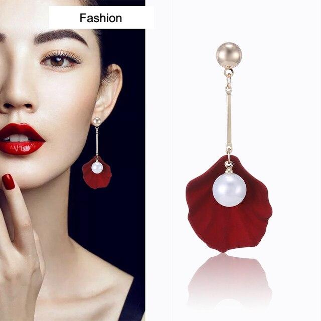 3 Color Fashion Imitation Pearl Women Drop Earring Petal Design Long Earring For