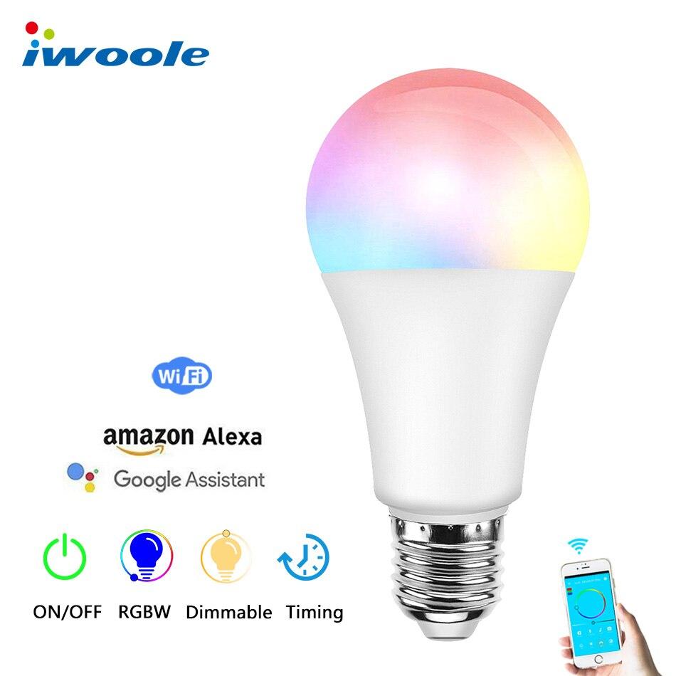 Dimmable Led Ampoule E27 wifi Intelligent Ampoule LED RGB Blanc Chaud Couleur Lampe temporisation en RGBW Feux de Circulation Alexa google Maison lampes