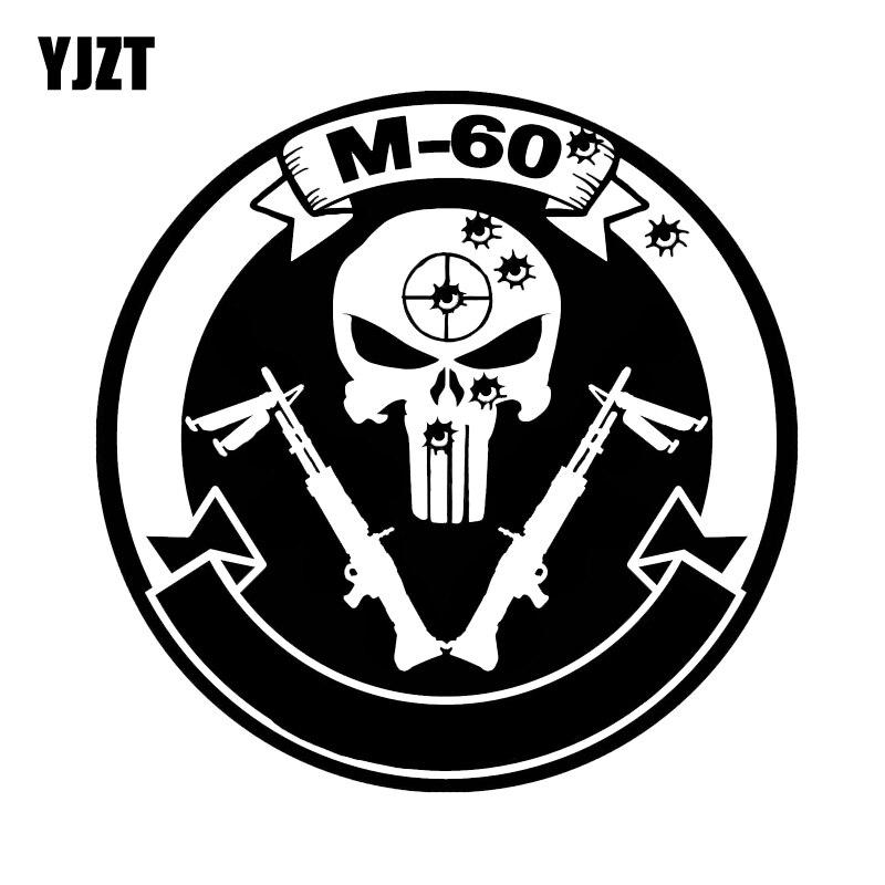 YJZT 15.7*5.5CM Interesting M - 60 And Guns Car Sticker Vinyl Graphic High Quality Black/Silver C12-0252