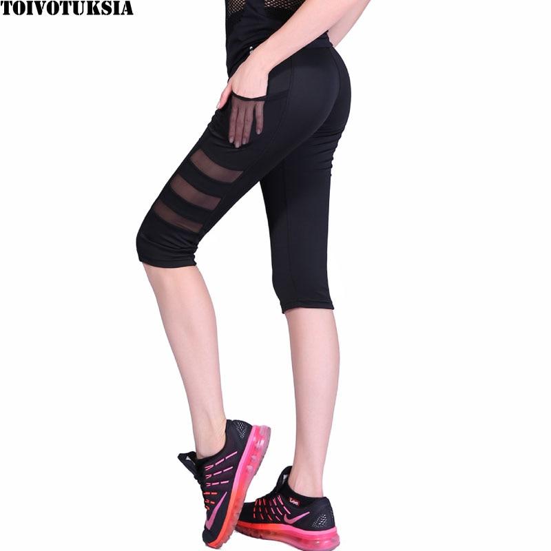 TOIVOTUKSIA Women Legging Ptachwork Mesh Black Capri Leggings Plus Size Sexy Fitness Sporting Pants with Pocket Mid-Calf Trouser