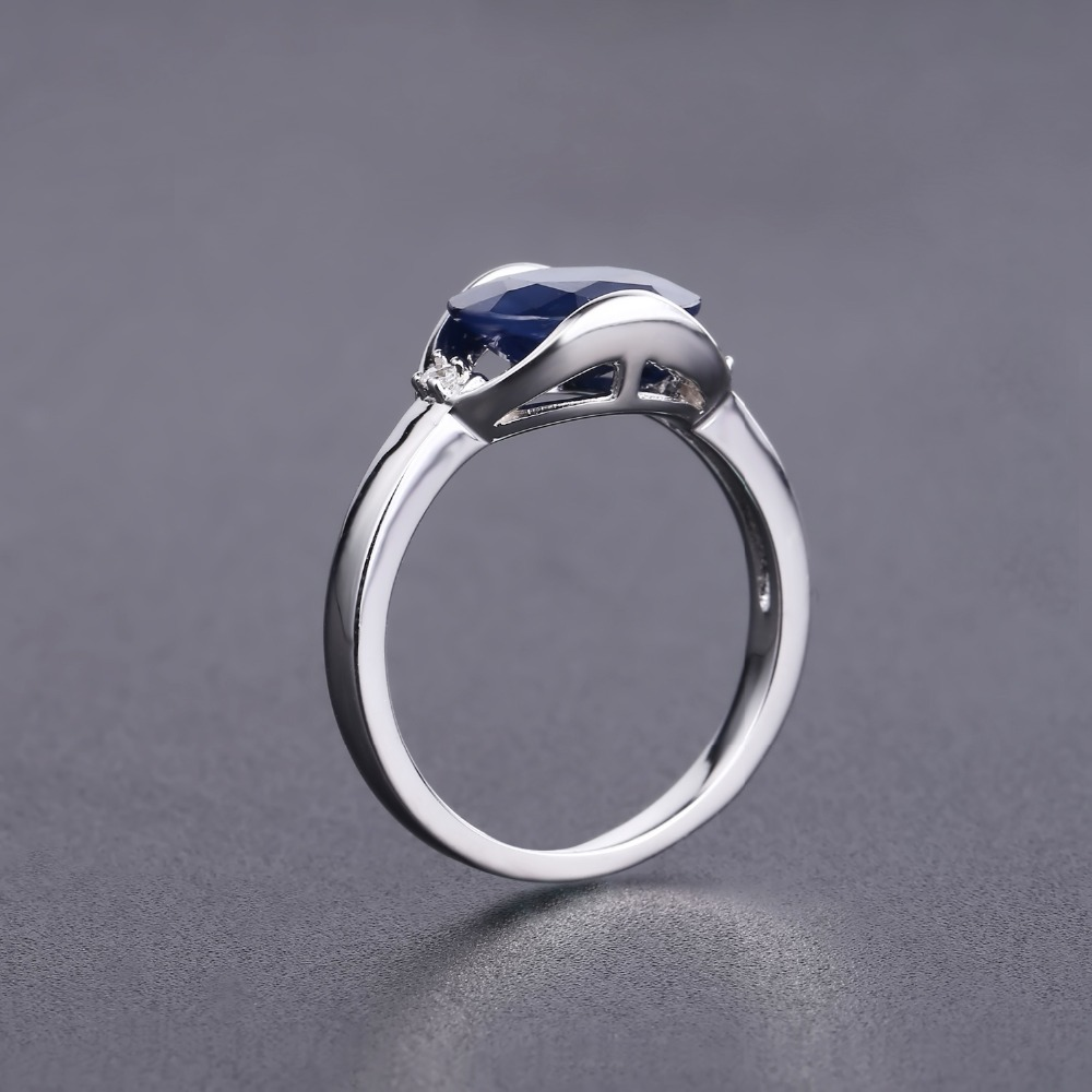 Image 4 - GEMS BALLET New 3.24Ct Natural Blue Sapphire Rings Real 925  Sterling Silver Classic Oval Ring For Women Anniversary Fine GiftRings