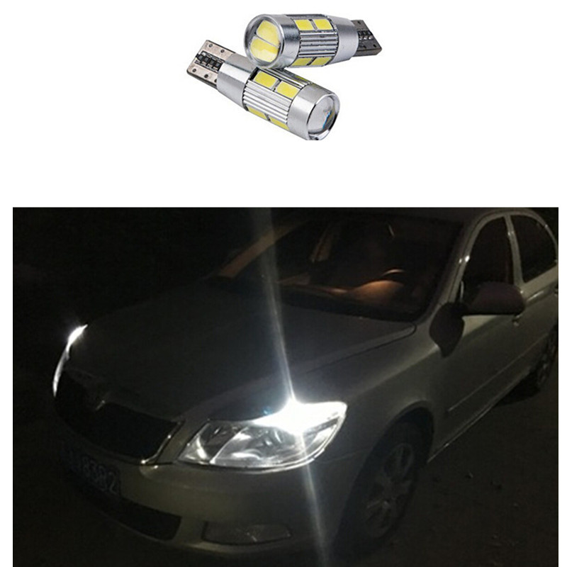 2 pcs T10 LED W5W 12V Car LED Auto Lamp  for skoda octavia rapid fabia yeti a5 a7 drlLight bulbs with Projector Lens universal car seat cover for skoda octavia rs fabia superb rapid yeti spaceback greenline joyste jeti car accessories