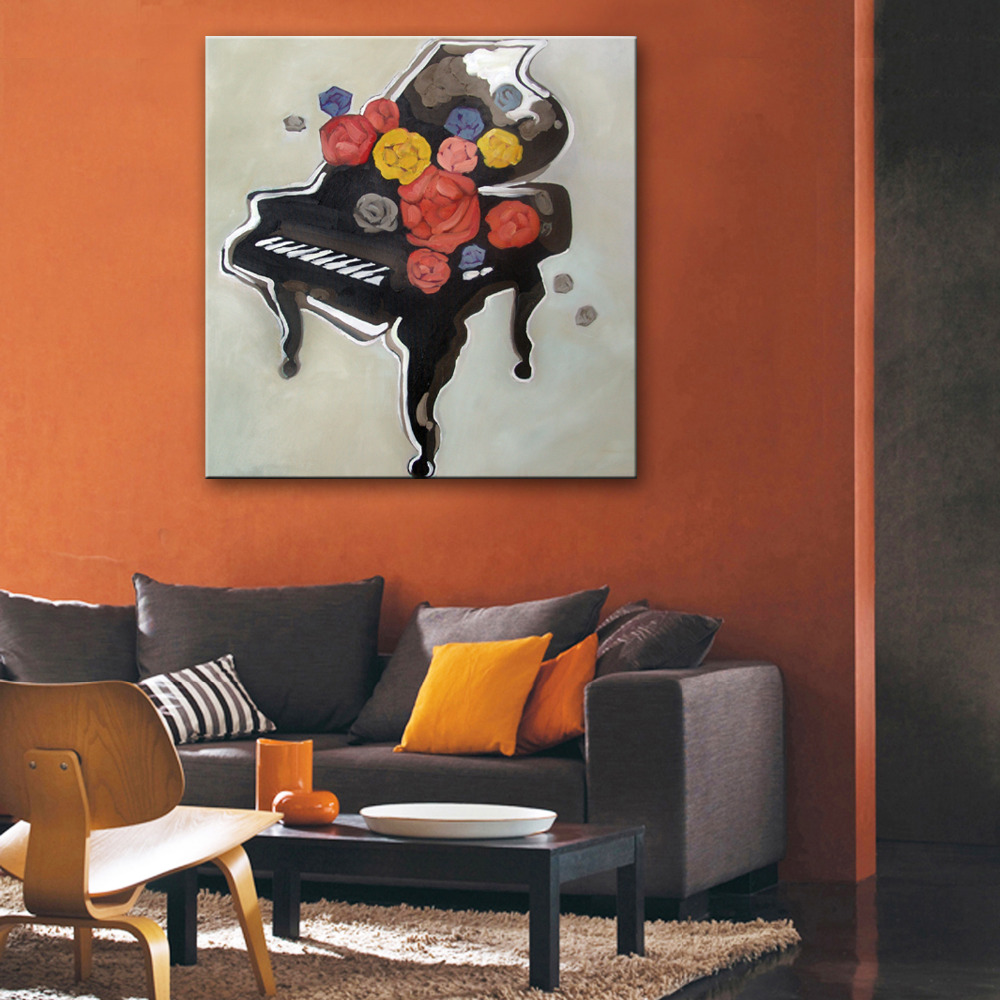 Free Shipping Hand Painting Oil Painting Piano And Flowers Decoration Painting One Pcs Home Decor Modern Wall Prints