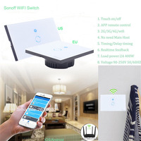 EU US Type Sonoff Wifi Touch Glass Panel Switch Smart Home Remote Control Wifi Switch 1