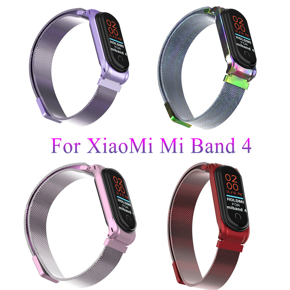 Milanese Loop Mi Band 4 Strap Metal Bucklle For Xiaomi Mi Band 4 Bracelet Mi Band4 Band 3 Accessories Magnetic Correa Free Films