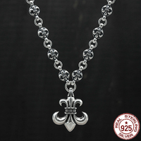 100% S925 sterling silver men's necklace personality fashion classic jewelry punk style domineering anchor shape 2018 new gift