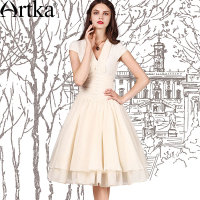 Artka Women S Vintage V Neck Dresses Wide Hem Design Bow Decorate Super Quality Elegant Woman