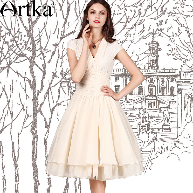 Artka Women s Summer Vintage V Neck Dresses Elegant Lady White Lace Party Dress LA10958X