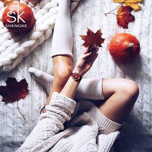 Image 3 - ساعة يد على الموضة من Shengke للنساء مزودة بحزام من النايلون ساعة يد كوارتز للسيدات إصدار جديد 2019