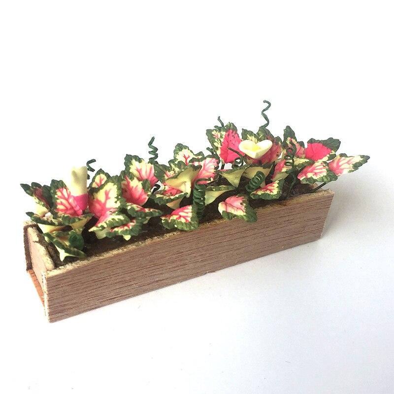 Clay Miniature Caladium Bicolor Plant For 1:12 Dollhouse OP058
