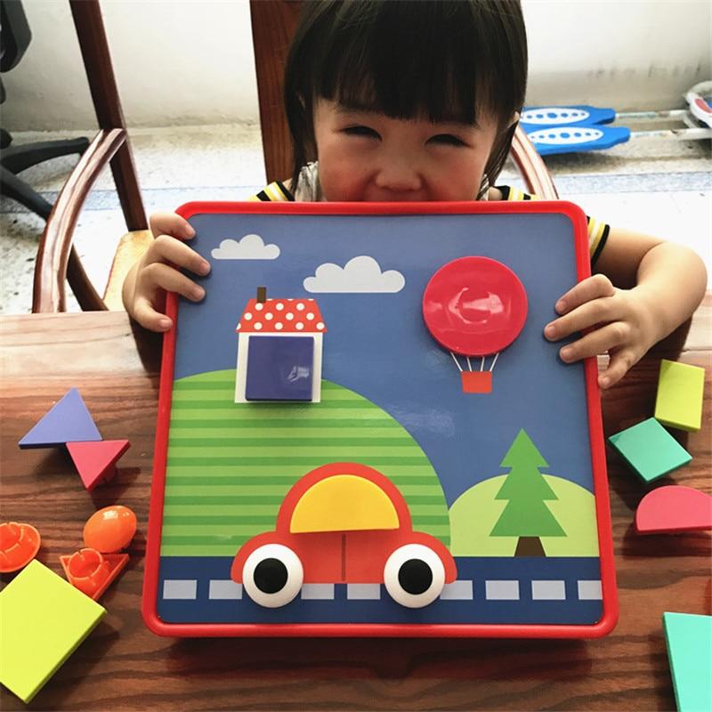 3D <font><b>Puzzles</b></font> Toys For Children Composite Picture <font><b>Puzzle</b></font> Creative Mosaic Mushroom Nail Kit Button Art Kids Toy