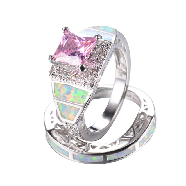 Fashion Pink Stone White Fire Opal Wedding Ring Set For Women 925 Sterling  Silver Jewelry Double