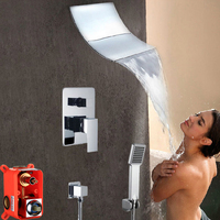 Luxury Chrome Brass Wall Mounted Valve Shower Set Embedded Box Dual Function Rain Waterfall Shower Faucet