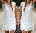 Лето Dress Sexy Women Casual Рукавов Пляж Короткие Dress Кисточкой Насыщенный Белый Мини Кружева Dress