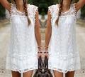 Summer dress mulheres sexy mangas casual praia curto dress tassel sólido branco mini lace dress
